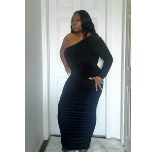 Dresses - Plus Size Black One Shoulder Maxi Dress